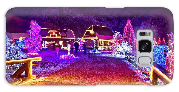 Village In Colorful Christmas Lights  Galaxy Case by Brch Photography