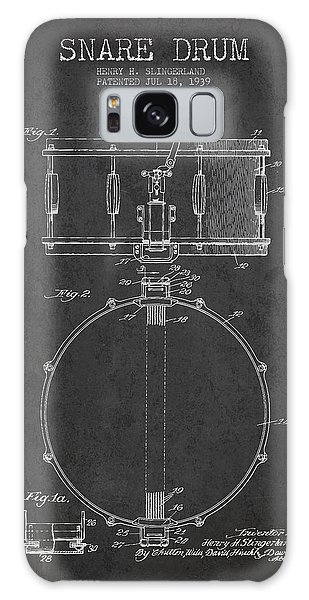 Drum Galaxy S8 Case - Snare Drum Patent Drawing From 1939 - Dark by Aged Pixel