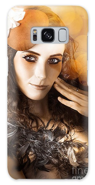 Feather Stars Galaxy Case - Vintage Style Actress Performing In French Beret by Jorgo Photography - Wall Art Gallery