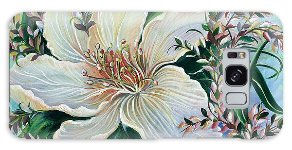 White Lily Galaxy Case by Yolanda Rodriguez