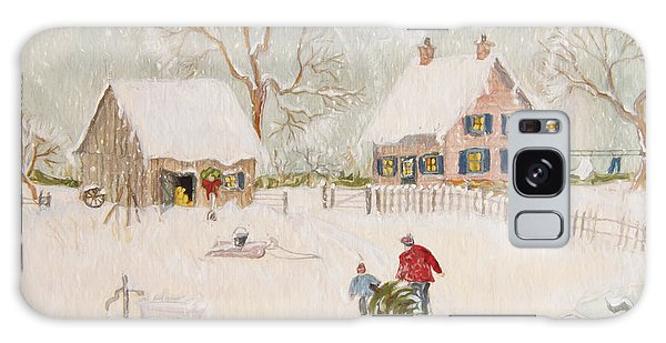 Galaxy Case featuring the photograph Winter Scene Of A Farm With People/ Digitally Altered by Sandra Cunningham