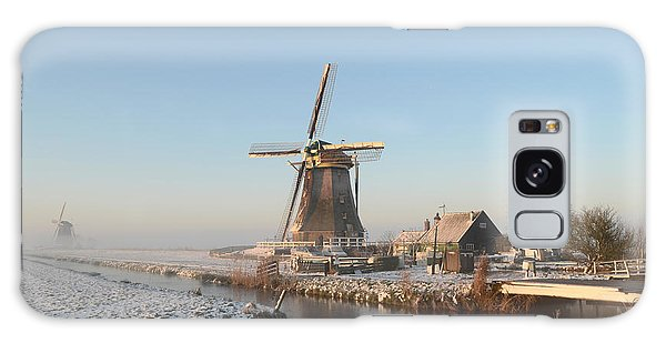 Winter Windmill Landscape In Holland Galaxy Case by IPics Photography