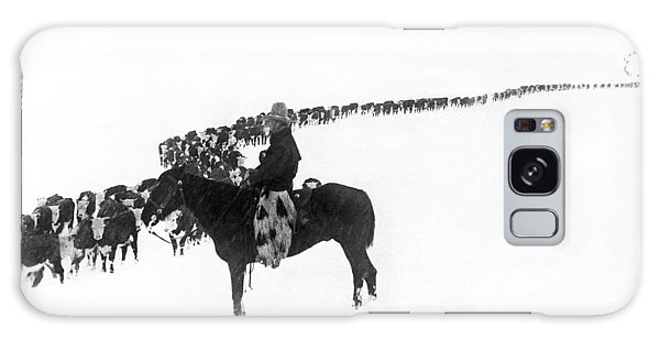 Cold Day Galaxy Case - Wintertime Cattle Drive by Underwood Archives  Charles Belden