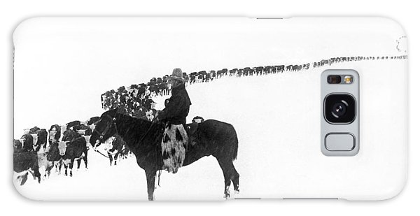 Cow Galaxy Case - Wintertime Cattle Drive by Underwood Archives  Charles Belden