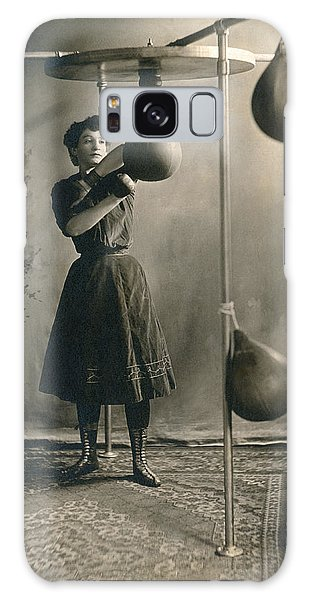 Workout Galaxy Case - Woman Boxing Workout by Underwood Archives