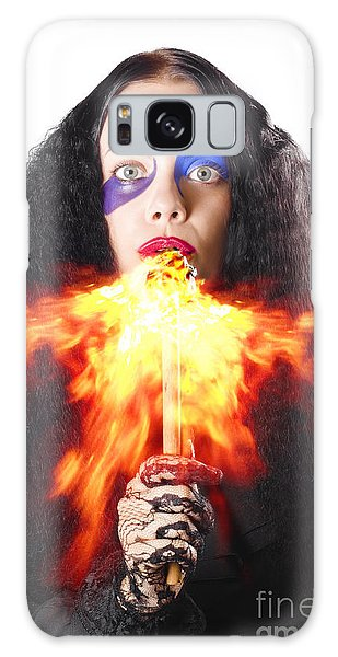Breathe Galaxy Case - Woman Breathing Fire From Mouth by Jorgo Photography - Wall Art Gallery