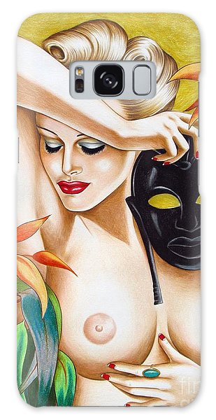 Woman With Mask Galaxy Case by Joseph Sonday