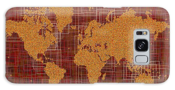 World Map Rettangoli In Orange Red And Brown Galaxy Case