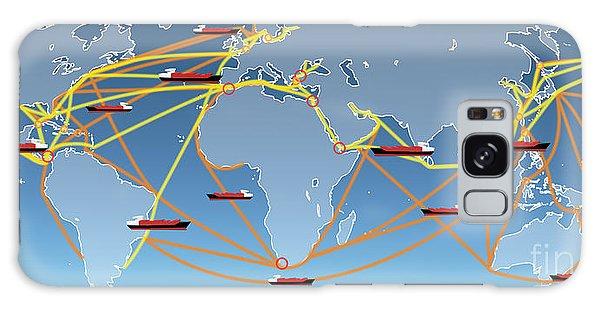 World Shipping Routes Map Galaxy Case by Atiketta Sangasaeng