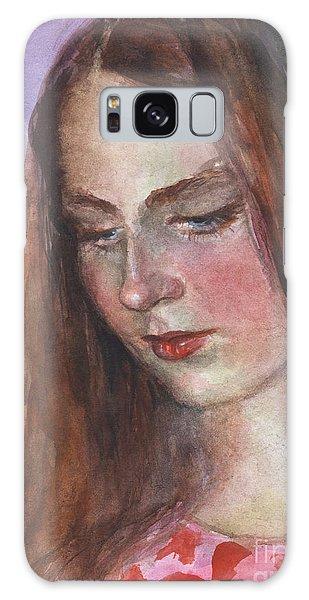 Russian Impressionism Galaxy Case - Young Woman Watercolor Portrait Painting by Svetlana Novikova