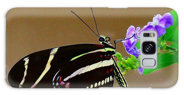 Zebra Longwing Enjoying A Flower Galaxy Case by Myrna Bradshaw