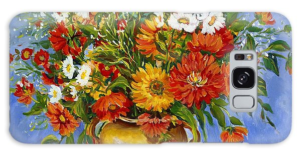 Zinnias Galaxy Case by Alexandra Maria Ethlyn Cheshire