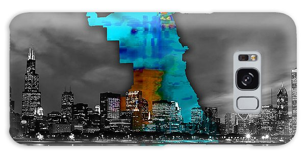Chicago Map And Skyline Watercolor Galaxy Case by Marvin Blaine