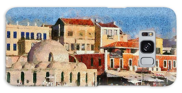 Painting Of The Old Port Of Chania Galaxy Case