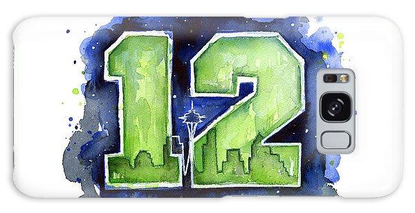 12th Man Seahawks Art Seattle Go Hawks Galaxy Case by Olga Shvartsur