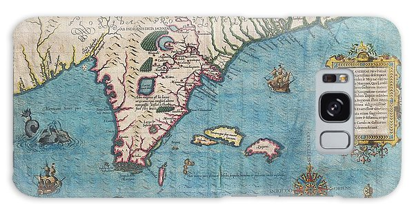 1591 De Bry And Le Moyne Map Of Florida And Cuba Galaxy Case by Paul Fearn