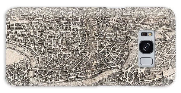 1652 Merian Panoramic View Or Map Of Rome Italy Galaxy Case by Paul Fearn