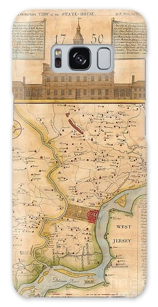 1752  Scull  Heap Map Of Philadelphia And Environs Galaxy Case by Paul Fearn