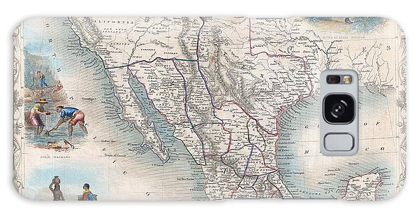 1851 Tallis Map Of Mexico Texas And California  Galaxy Case by Paul Fearn