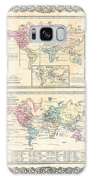 1855 Antique First Plate Ortelius World Map Animal Kingdom World Commerce And Navigation Galaxy Case by Karon Melillo DeVega