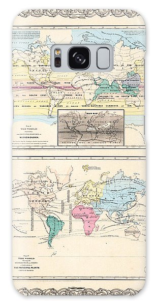 1855 Antique World Maps Illustrating Principal Features Of Meteorology Rain And Principal Plants Galaxy Case by Karon Melillo DeVega