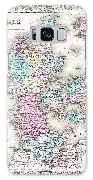 1855 Colton Map Of Denmark Galaxy Case by Paul Fearn