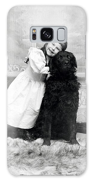 1890 Happy Girl And Her Retriever  Galaxy Case by Historic Image