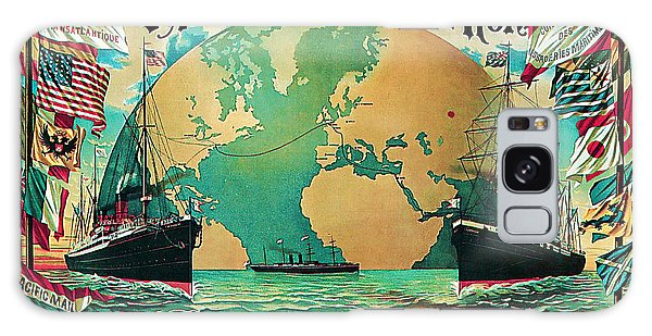 1890 Round The World Voyage - Vintage Travel Art Galaxy Case by Presented By American Classic Art