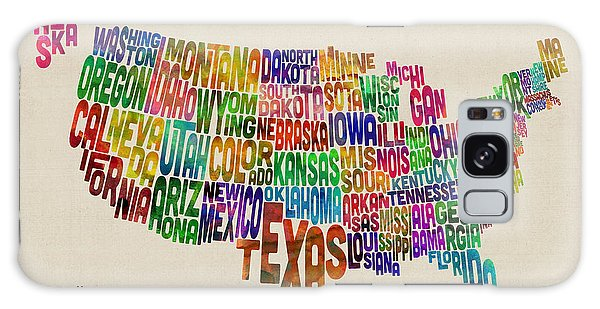United States Typography Text Map Galaxy Case