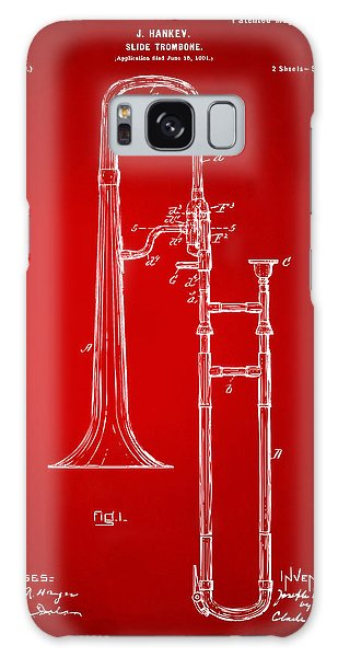 Trombone Galaxy S8 Case - 1902 Slide Trombone Patent Artwork Red by Nikki Marie Smith