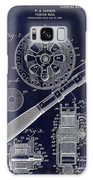 1906 Fishing Reel Patent Drawing Blue Galaxy Case