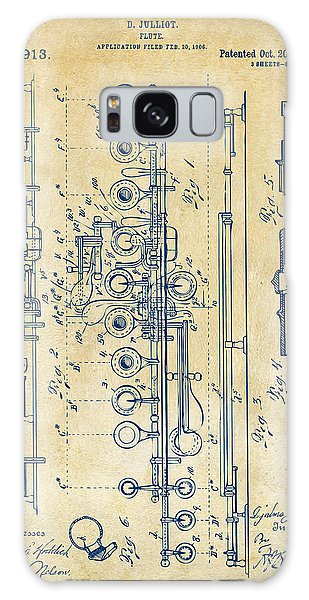 Galaxy Case featuring the digital art 1908 Flute Patent - Vintage by Nikki Marie Smith