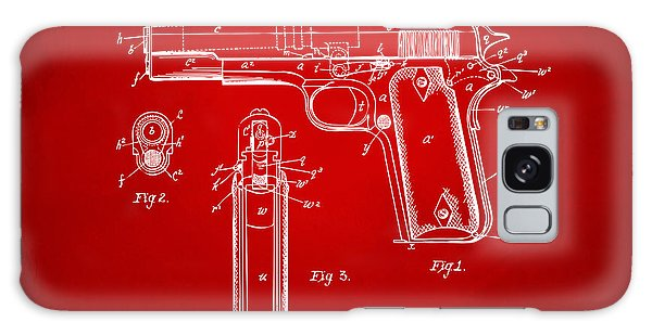 Weapons Galaxy Case - 1911 Colt 45 Browning Firearm Patent Artwork Red by Nikki Marie Smith