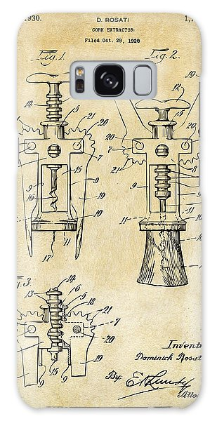 1928 Cork Extractor Patent Art - Vintage Black Galaxy Case by Nikki Marie Smith