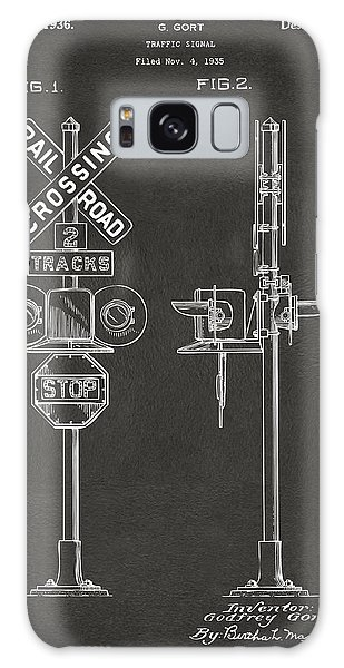Train Galaxy Case - 1936 Rail Road Crossing Sign Patent Artwork - Gray by Nikki Marie Smith