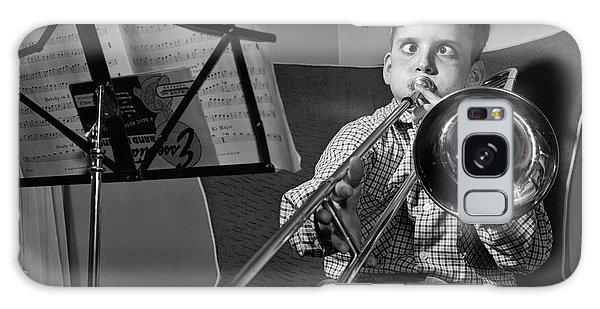 Trombone Galaxy S8 Case - 1950s Funny Cross-eyed Boy Playing by Vintage Images