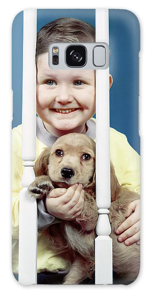 Banister Galaxy Case - 1950s Smiling Little Boy Peeking by Animal Images