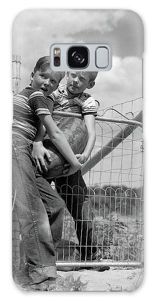 1950s Two Farm Boys In Striped T-shirts Galaxy Case