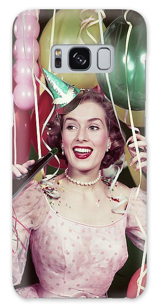 Paper Dress Galaxy Case - 1950s Woman Party Dress Paper Hat Hold by Vintage Images