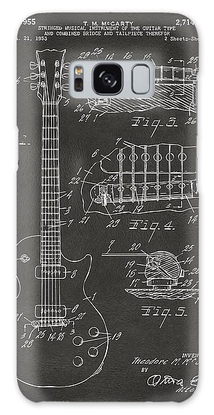 Den Galaxy Case - 1955 Mccarty Gibson Les Paul Guitar Patent Artwork - Gray by Nikki Marie Smith