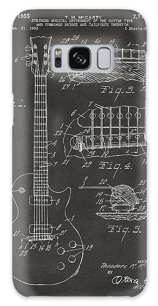 Guitar Galaxy Case - 1955 Mccarty Gibson Les Paul Guitar Patent Artwork - Gray by Nikki Marie Smith