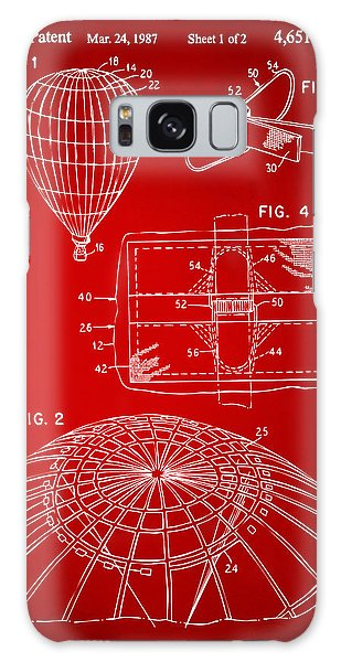 Hot Air Balloons Galaxy Case - 1987 Hot Air Balloon Patent Artwork - Red by Nikki Marie Smith