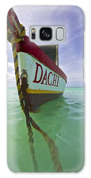 Anchored Colorful Fishing Boat Of Aruba II Galaxy Case