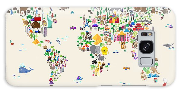 Cartoon Galaxy Case - Animal Map Of The World For Children And Kids by Michael Tompsett