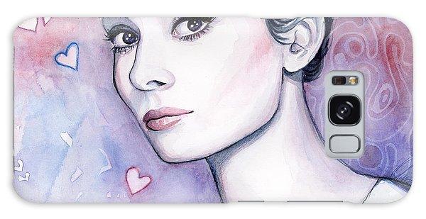 Actor Galaxy Case - Audrey Hepburn Fashion Watercolor by Olga Shvartsur