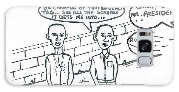 Barack Obama And Usain Bolt Cartoon Galaxy Case by Mudiama Kammoh