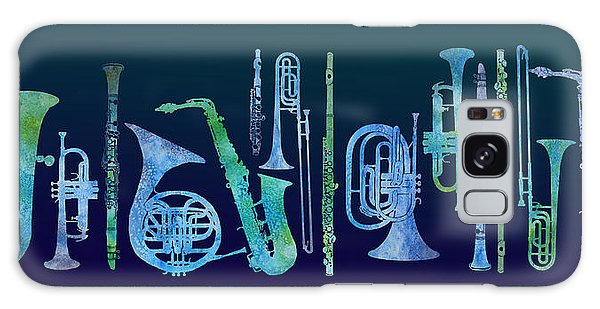 Trombone Galaxy Case - Cool Blue Band by Jenny Armitage