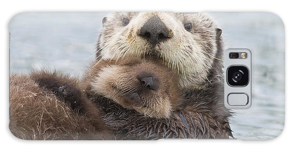 Otter Galaxy S8 Case - Female Sea Otter Holding Newborn Pup by Milo Burcham