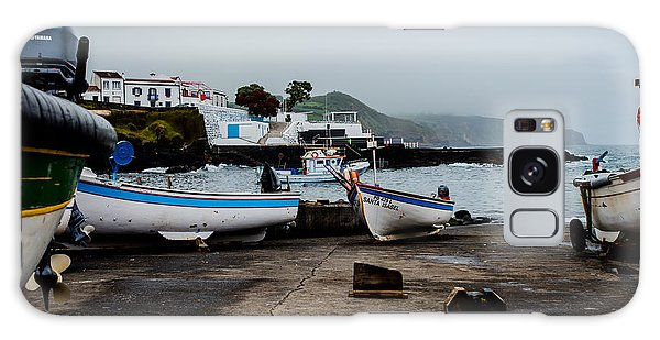Fishing Boats On Wharf With View Of Houses  Galaxy Case