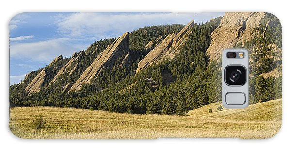 Flatirons With Golden Grass Boulder Colorado Galaxy Case
